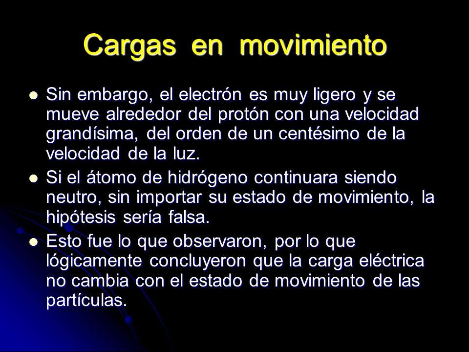 Cargas en movimiento Sin embargo, el electrón es muy ligero y se mueve alrededor del protón con una velocidad grandísima, del orden de un centésimo de