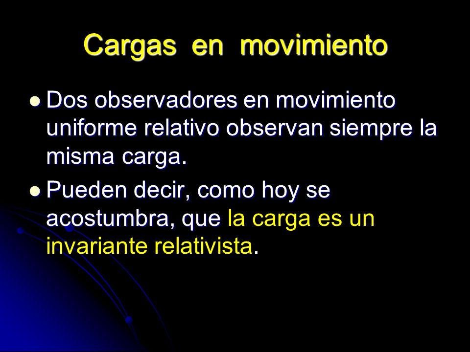 Cargas en movimiento Dos observadores en movimiento uniforme relativo observan siempre la misma carga. Dos observadores en movimiento uniforme relativ