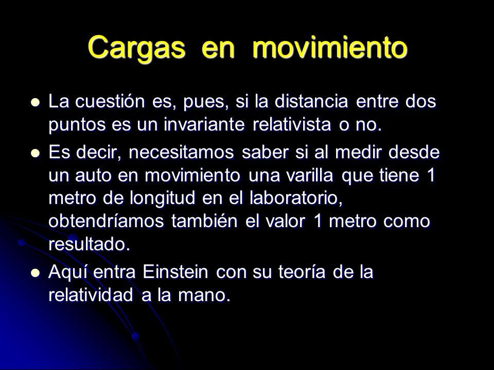 Cargas en movimiento La cuestión es, pues, si la distancia entre dos puntos es un invariante relativista o no. La cuestión es, pues, si la distancia e
