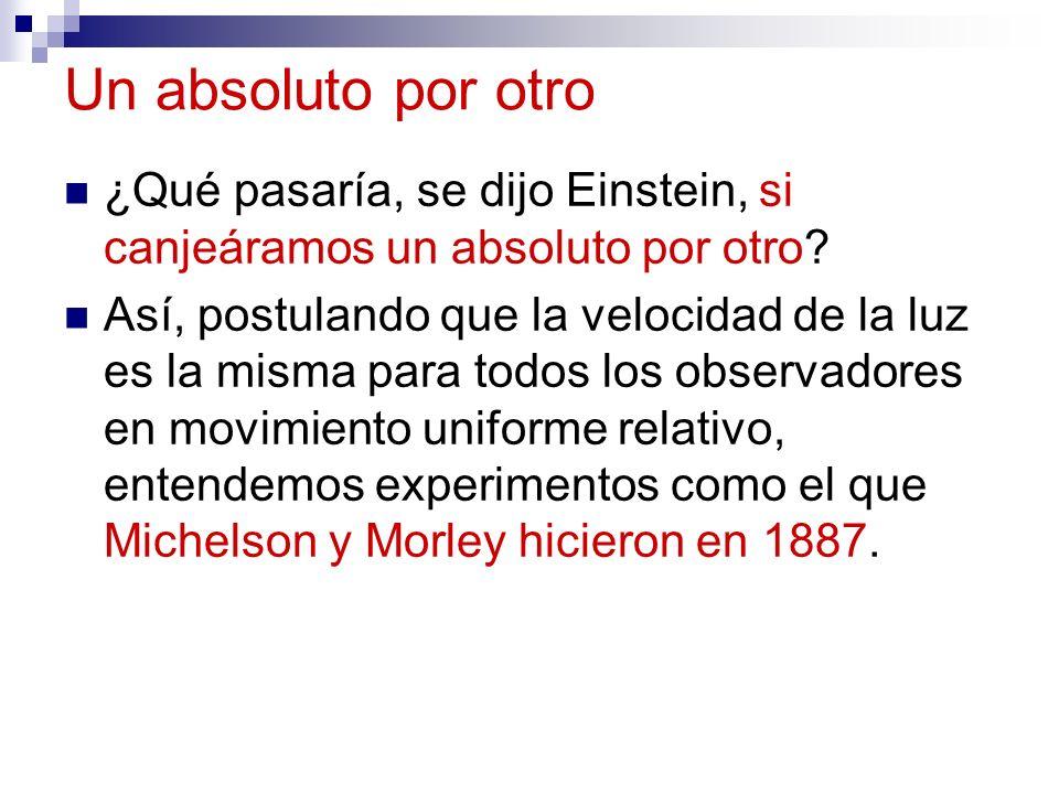 Un absoluto por otro ¿Qué pasaría, se dijo Einstein, si canjeáramos un absoluto por otro? Así, postulando que la velocidad de la luz es la misma para