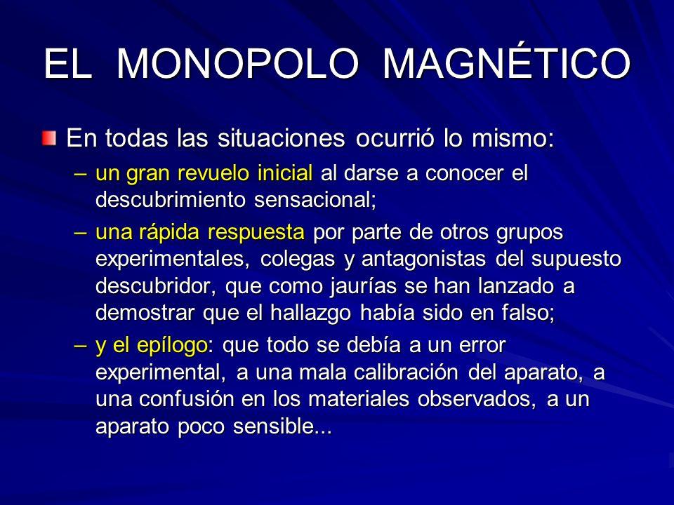 Superconductividad y monopolos Si comparamos este valor del flujo magnético cuantizado con el valor predicho por Dirac para la carga magnética, = c/4 e, nos damos cuenta de inmediato que los anillos superconductores constituyen antenas naturales para detectar el monopolo.