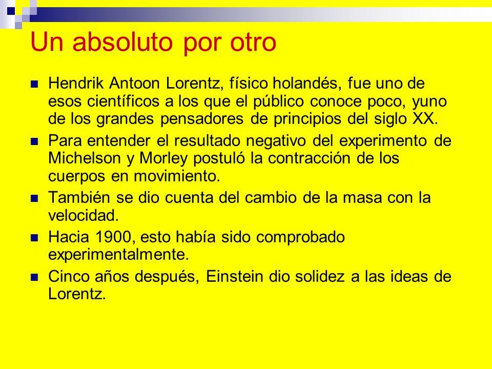 Un absoluto por otro Hendrik Antoon Lorentz, físico holandés, fue uno de esos científicos a los que el público conoce poco, yuno de los grandes pensad