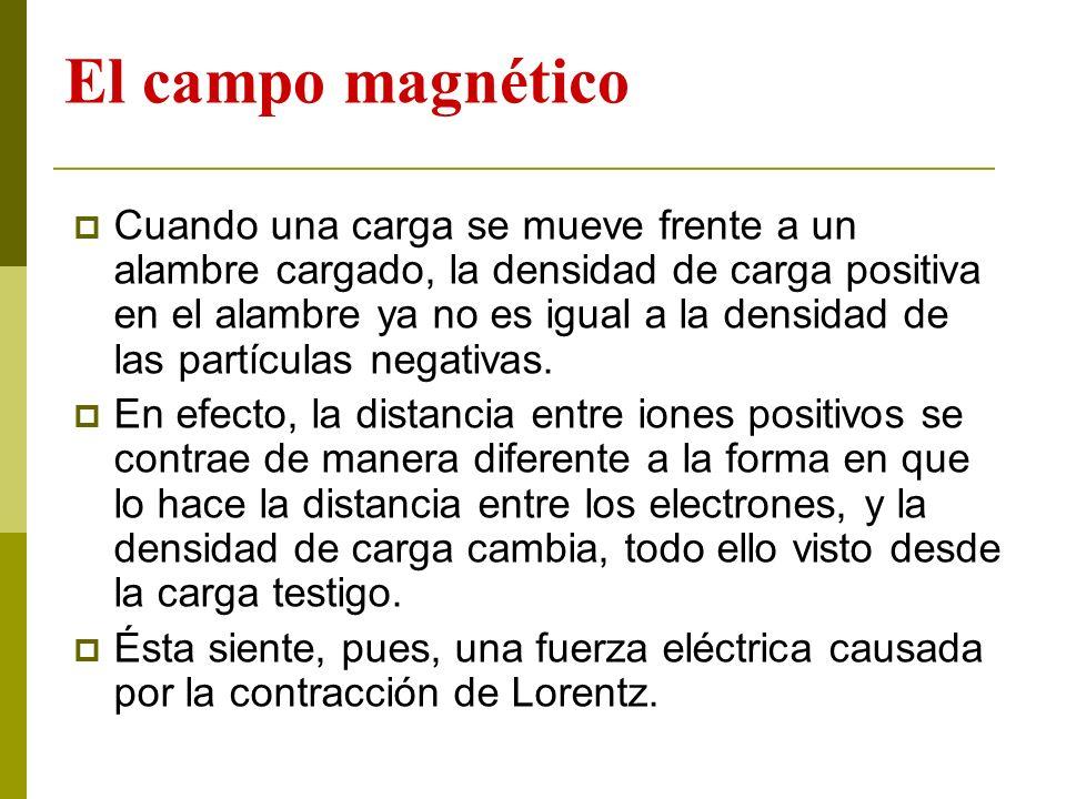 El campo magnético Cuando una carga se mueve frente a un alambre cargado, la densidad de carga positiva en el alambre ya no es igual a la densidad de