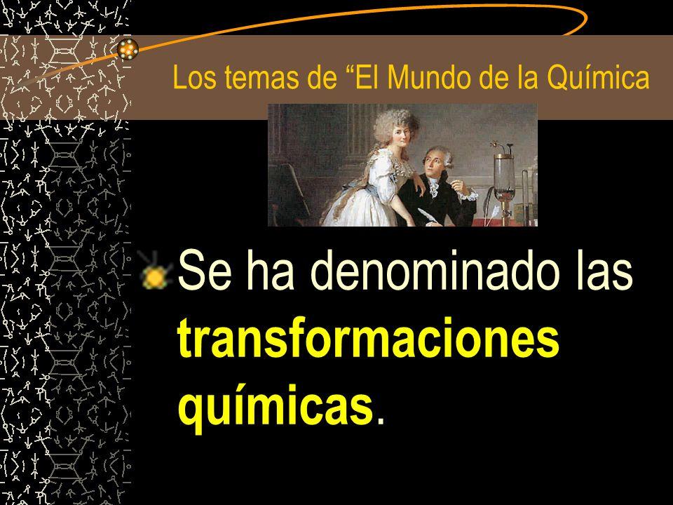 Los temas de El Mundo de la Química Se ha denominado las transformaciones químicas.