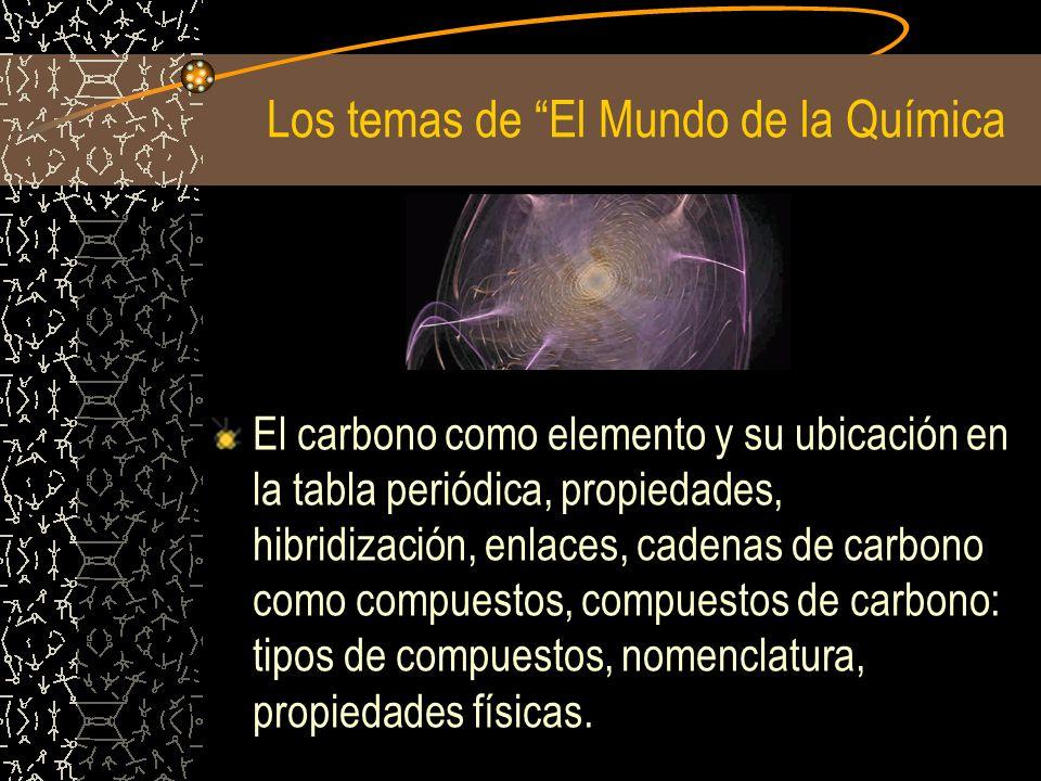 Los temas de El Mundo de la Química El carbono como elemento y su ubicación en la tabla periódica, propiedades, hibridización, enlaces, cadenas de car