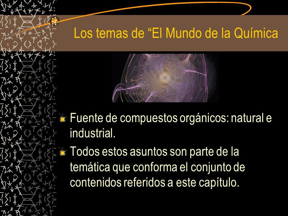 Los temas de El Mundo de la Química Fuente de compuestos orgánicos: natural e industrial. Todos estos asuntos son parte de la temática que conforma el