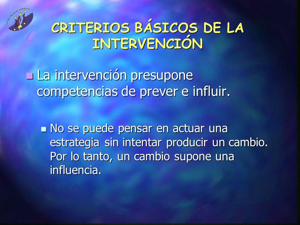 CRITERIOS BÁSICOS DE LA INTERVENCIÓN La intervención presupone competencias de prever e influir. La intervención presupone competencias de prever e in