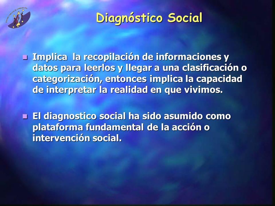 Diagnóstico Social Implica la recopilación de informaciones y datos para leerlos y llegar a una clasificación o categorización, entonces implica la ca