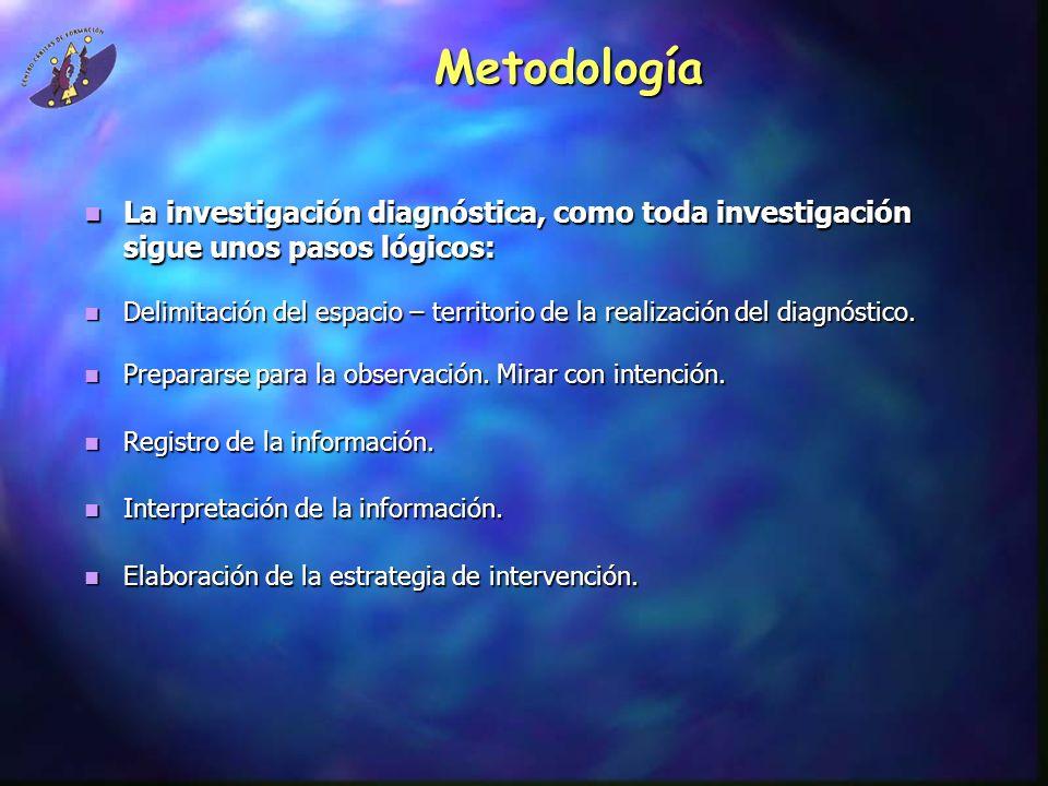 Metodología La investigación diagnóstica, como toda investigación sigue unos pasos lógicos: La investigación diagnóstica, como toda investigación sigu