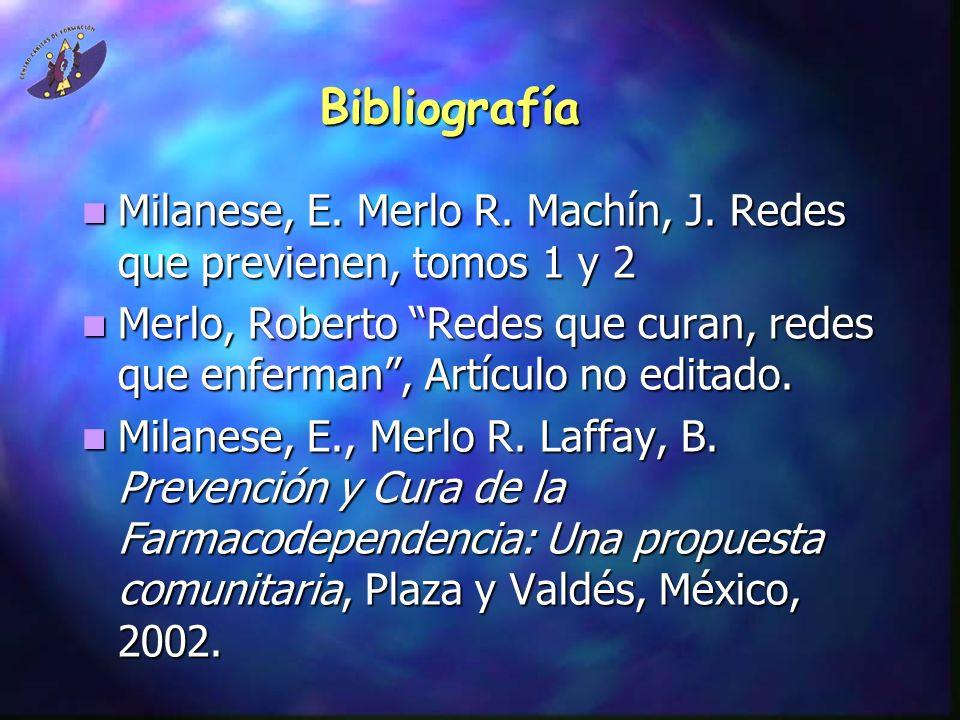 Bibliografía Milanese, E. Merlo R. Machín, J. Redes que previenen, tomos 1 y 2 Milanese, E. Merlo R. Machín, J. Redes que previenen, tomos 1 y 2 Merlo