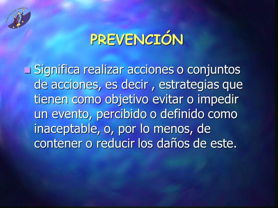PREVENCIÓN Significa realizar acciones o conjuntos de acciones, es decir, estrategias que tienen como objetivo evitar o impedir un evento, percibido o