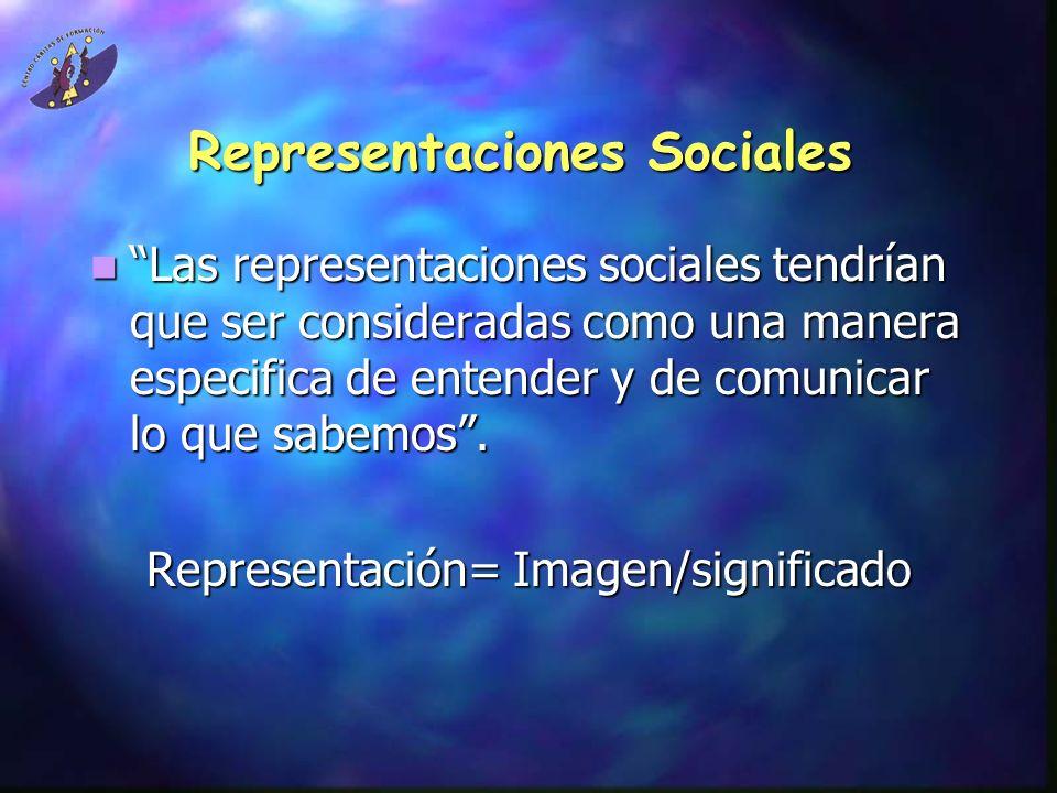 Representaciones Sociales Las representaciones sociales tendrían que ser consideradas como una manera especifica de entender y de comunicar lo que sab