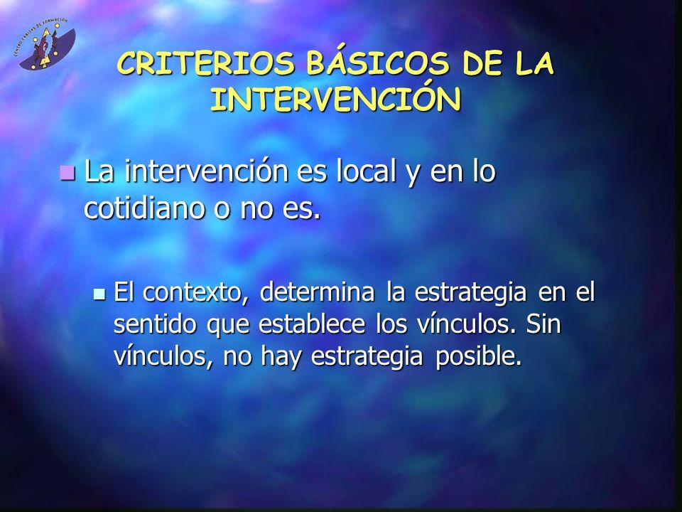 CRITERIOS BÁSICOS DE LA INTERVENCIÓN La intervención es local y en lo cotidiano o no es. La intervención es local y en lo cotidiano o no es. El contex