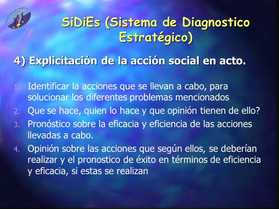 SiDiEs (Sistema de Diagnostico Estratégico) 4) Explicitación de la acción social en acto.