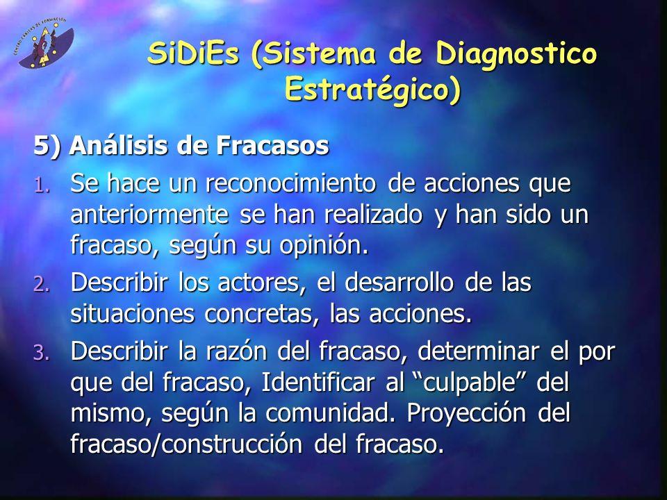 SiDiEs (Sistema de Diagnostico Estratégico) 5) Análisis de Fracasos 1.