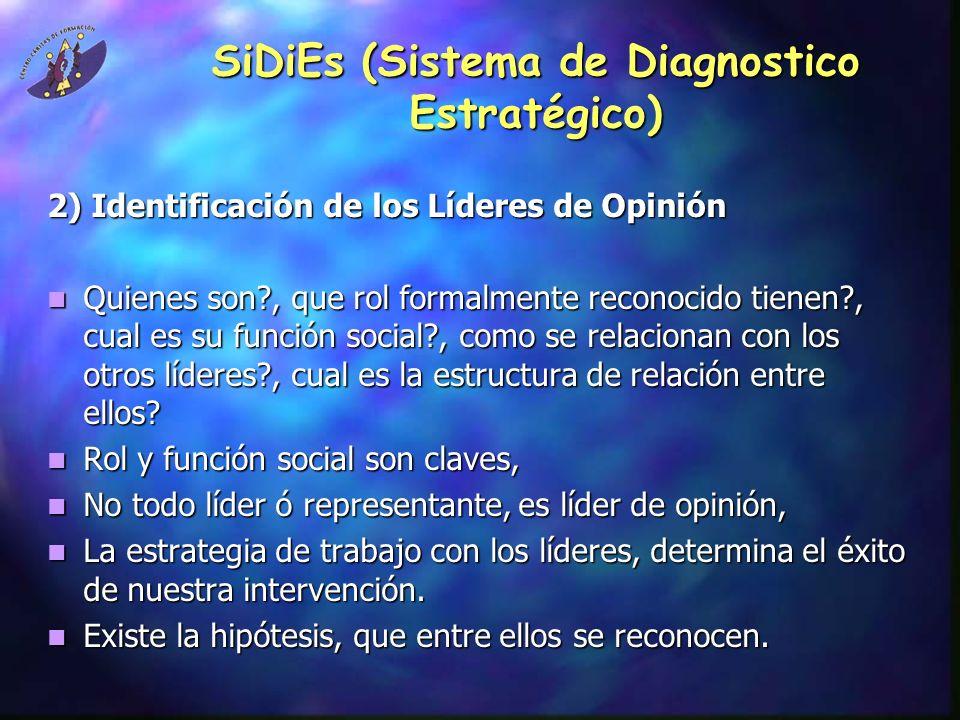 SiDiEs (Sistema de Diagnostico Estratégico) 2) Identificación de los Líderes de Opinión Quienes son?, que rol formalmente reconocido tienen?, cual es su función social?, como se relacionan con los otros líderes?, cual es la estructura de relación entre ellos.