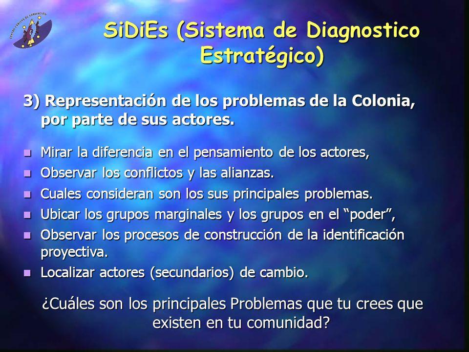 SiDiEs (Sistema de Diagnostico Estratégico) 3) Representación de los problemas de la Colonia, por parte de sus actores.