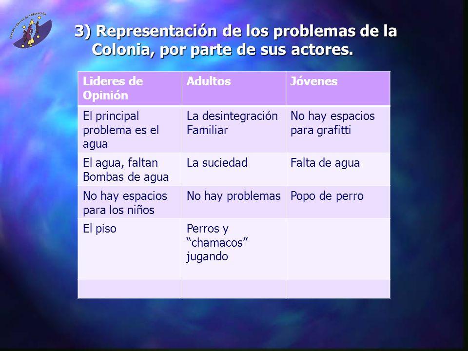 3) Representación de los problemas de la Colonia, por parte de sus actores.