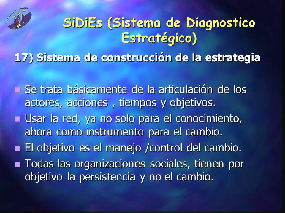 SiDiEs (Sistema de Diagnostico Estratégico) 17) Sistema de construcción de la estrategia Se trata básicamente de la articulación de los actores, accio
