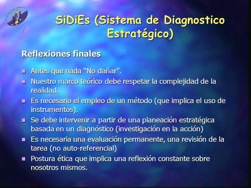 SiDiEs (Sistema de Diagnostico Estratégico) Reflexiones finales Antes que nada No dañar. Antes que nada No dañar. Nuestro marco teórico debe respetar