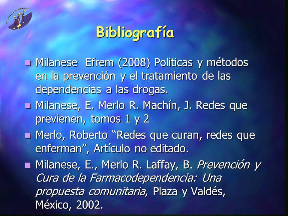 Bibliografía Milanese Efrem (2008) Politicas y métodos en la prevención y el tratamiento de las dependencias a las drogas. Milanese Efrem (2008) Polit