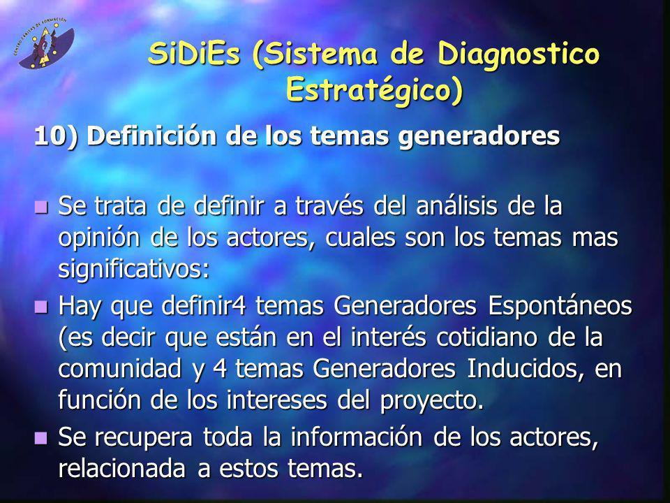 SiDiEs (Sistema de Diagnostico Estratégico) 10) Definición de los temas generadores Se trata de definir a través del análisis de la opinión de los act