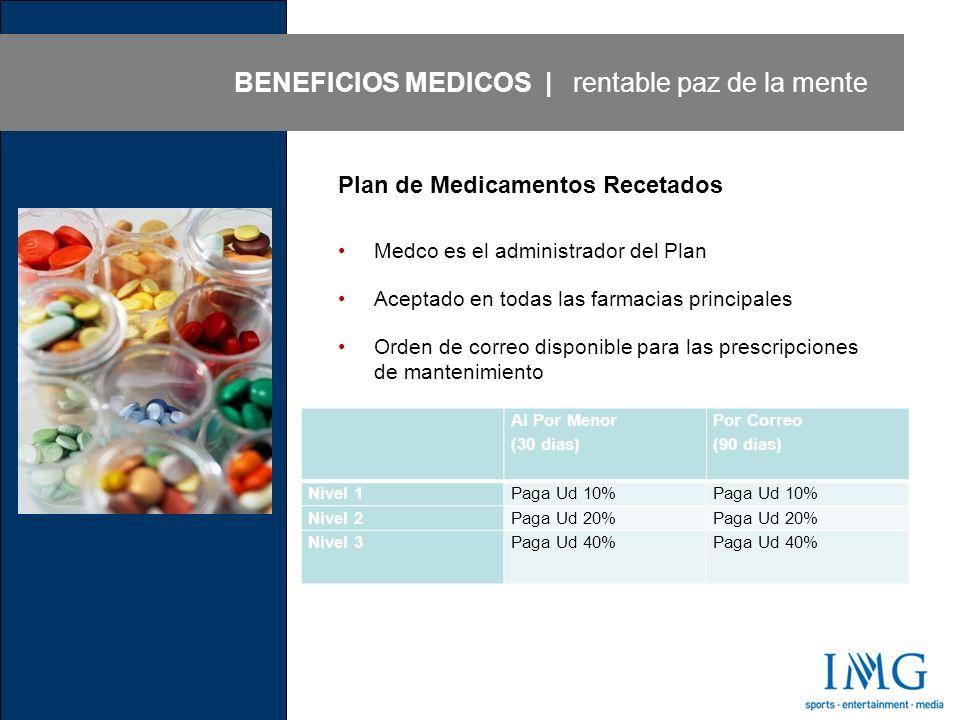Plan de Medicamentos Recetados Medco es el administrador del Plan Aceptado en todas las farmacias principales Orden de correo disponible para las prescripciones de mantenimiento BENEFICIOS MEDICOS | rentable paz de la mente Al Por Menor (30 dias) Por Correo (90 dias) Nivel 1Paga Ud 10% Nivel 2Paga Ud 20% Nivel 3Paga Ud 40%