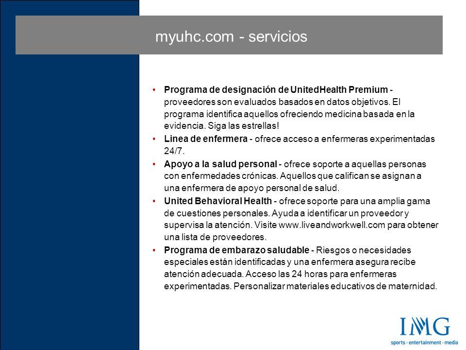 myuhc.com - servicios Programa de designación de UnitedHealth Premium - proveedores son evaluados basados en datos objetivos.