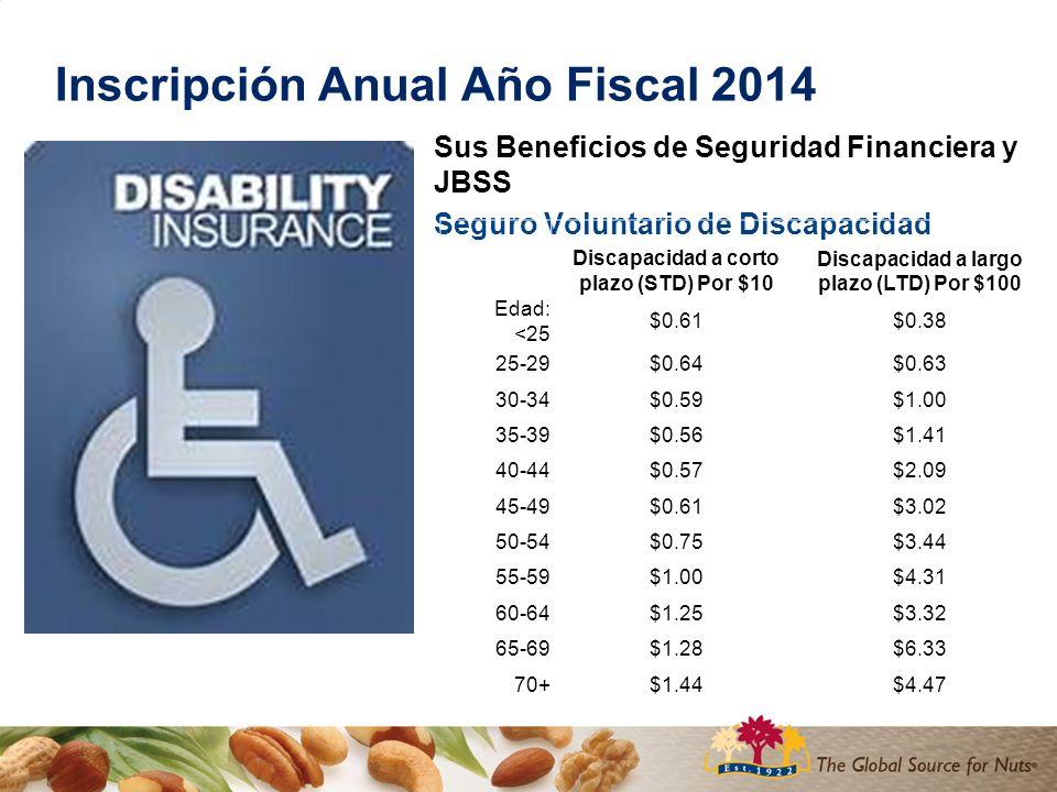 Inscripción Anual Año Fiscal 2014 Sus Beneficios de Seguridad Financiera y JBSS Seguro Voluntario de Discapacidad Discapacidad a corto plazo (STD) Por $10 Discapacidad a largo plazo (LTD) Por $100 Edad: <25 $0.61$0.38 25-29$0.64$0.63 30-34$0.59$1.00 35-39$0.56$1.41 40-44$0.57$2.09 45-49$0.61$3.02 50-54$0.75$3.44 55-59$1.00$4.31 60-64$1.25$3.32 65-69$1.28$6.33 70+$1.44$4.47