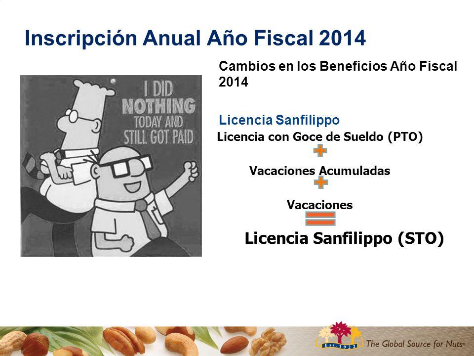 Inscripción Anual Año Fiscal 2014 Cambios en los Beneficios Año Fiscal 2014 Licencia Sanfilippo Licencia con Goce de Sueldo (PTO) Vacaciones Acumuladas Vacaciones Licencia Sanfilippo (STO)