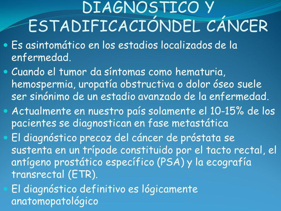 DIAGNÓSTICO Y ESTADIFICACIÓNDEL CÁNCER Es asintomático en los estadios localizados de la enfermedad. Cuando el tumor da síntomas como hematuria, hemos