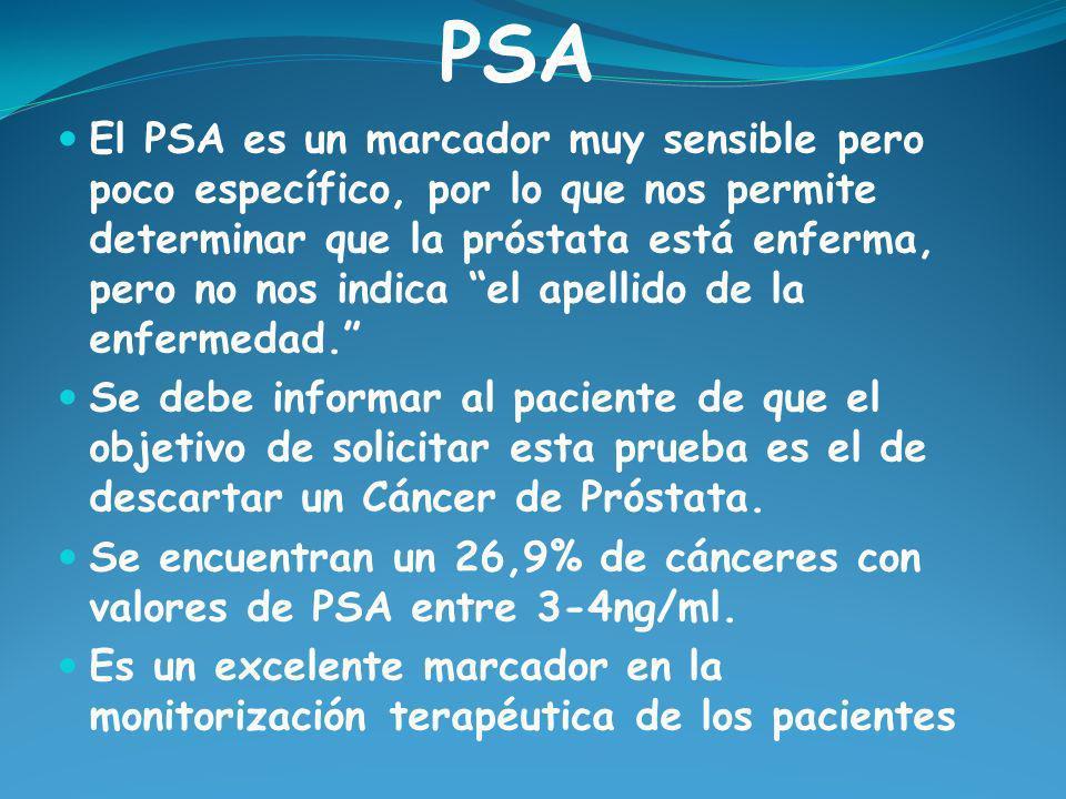 El PSA es un marcador muy sensible pero poco específico, por lo que nos permite determinar que la próstata está enferma, pero no nos indica el apellid