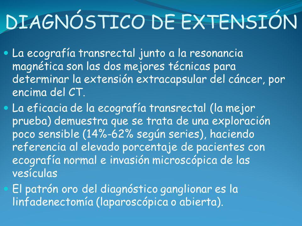 DIAGNÓSTICO DE EXTENSIÓN La ecografía transrectal junto a la resonancia magnética son las dos mejores técnicas para determinar la extensión extracapsu