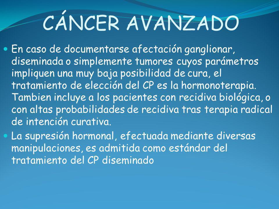 CÁNCER AVANZADO En caso de documentarse afectación ganglionar, diseminada o simplemente tumores cuyos parámetros impliquen una muy baja posibilidad de