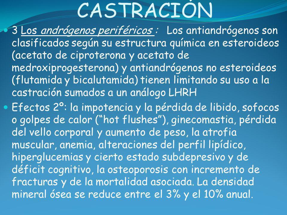 CASTRACIÓN 3 Los andrógenos periféricos : Los antiandrógenos son clasificados según su estructura química en esteroideos (acetato de ciproterona y ace