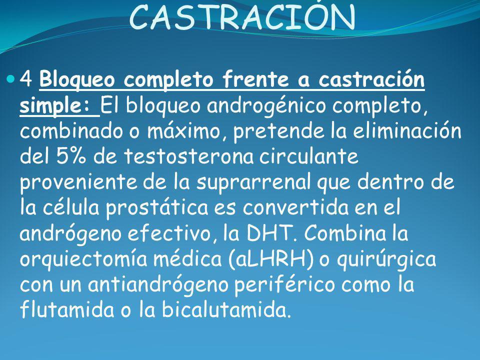 CASTRACIÓN 4 Bloqueo completo frente a castración simple: El bloqueo androgénico completo, combinado o máximo, pretende la eliminación del 5% de testo