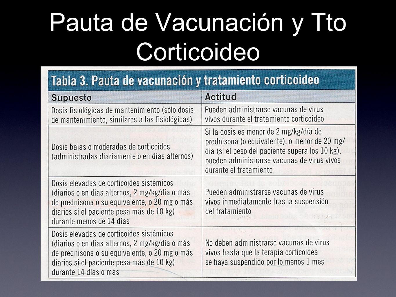 Pauta de Vacunación y Tto Corticoideo