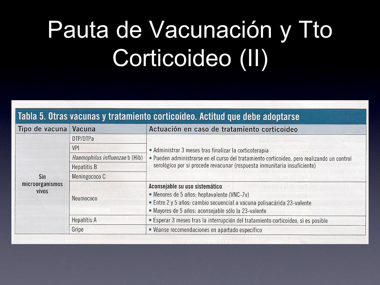 Pauta de Vacunación y Tto Corticoideo (II)