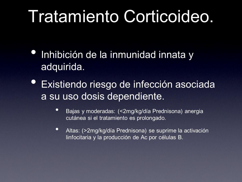 Tratamiento Corticoideo. Inhibición de la inmunidad innata y adquirida. Existiendo riesgo de infección asociada a su uso dosis dependiente. Bajas y mo