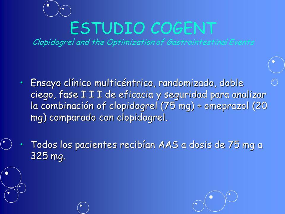 ESTUDIO COGENT Clopidogrel and the Optimization of Gastrointestinal Events Ensayo clínico multicéntrico, randomizado, doble ciego, fase I I I de efica