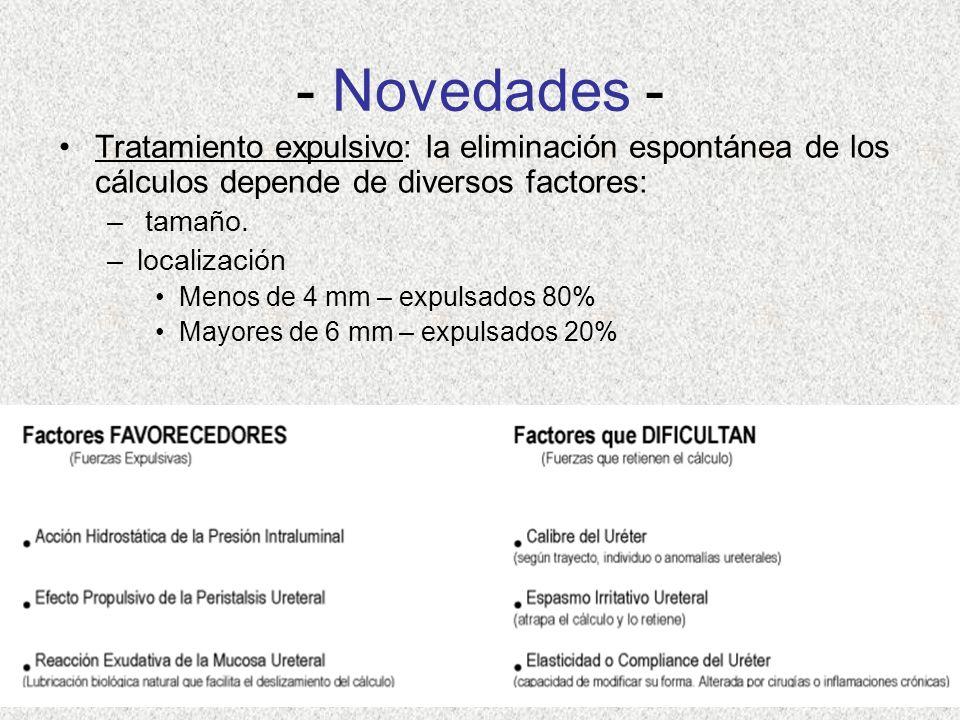 - Novedades - Tratamiento expulsivo: la eliminación espontánea de los cálculos depende de diversos factores: – tamaño.