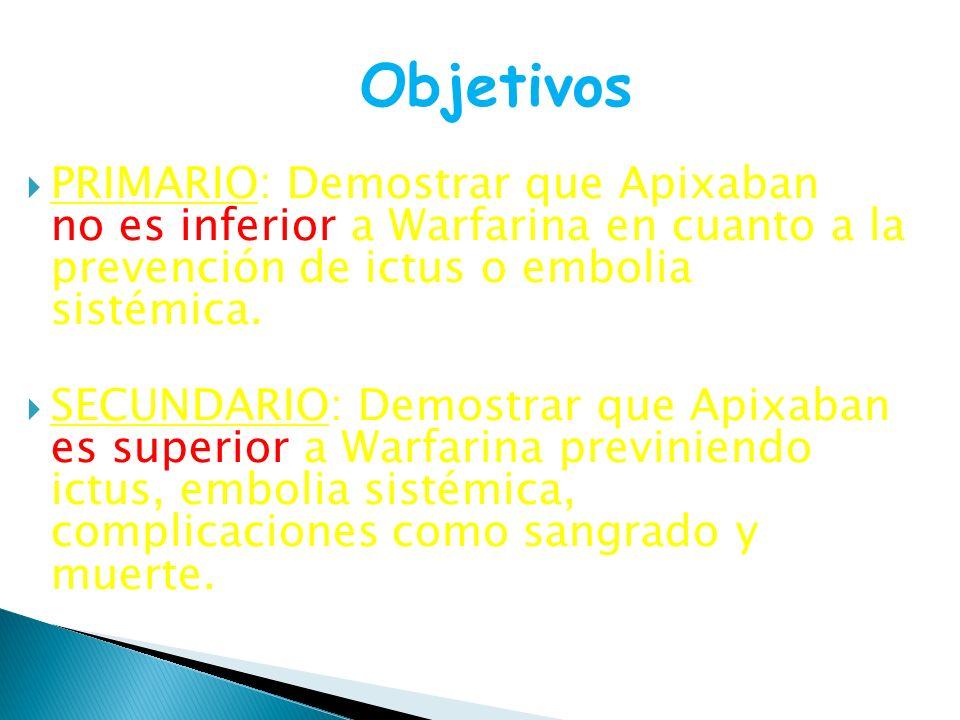 PRIMARIO: Demostrar que Apixaban no es inferior a Warfarina en cuanto a la prevención de ictus o embolia sistémica. SECUNDARIO: Demostrar que Apixaban
