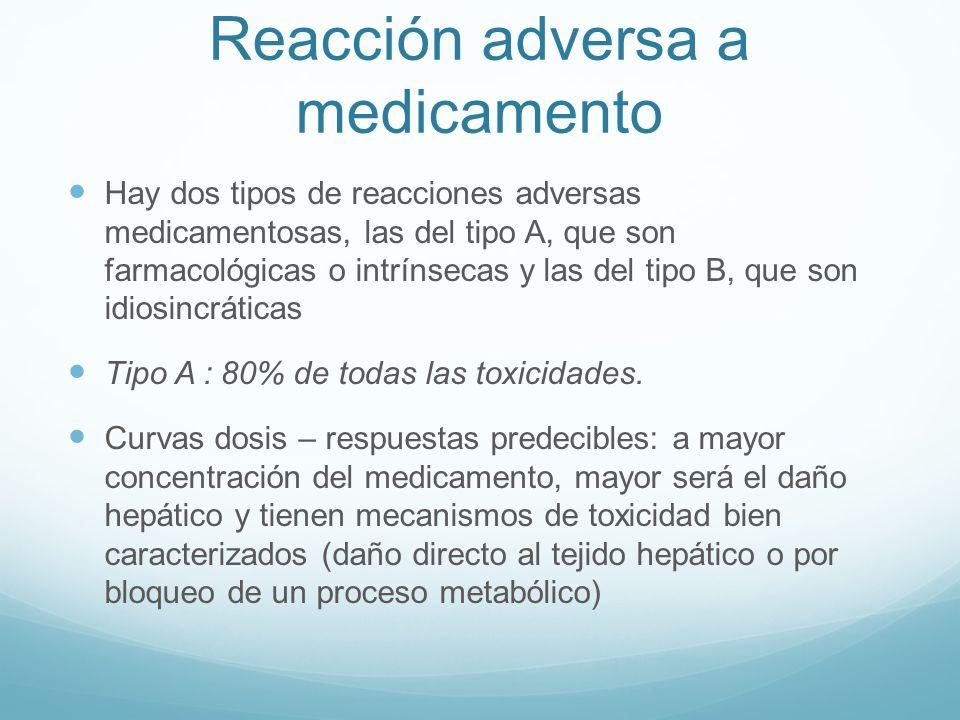 Reacción adversa a medicamento Hay dos tipos de reacciones adversas medicamentosas, las del tipo A, que son farmacológicas o intrínsecas y las del tip
