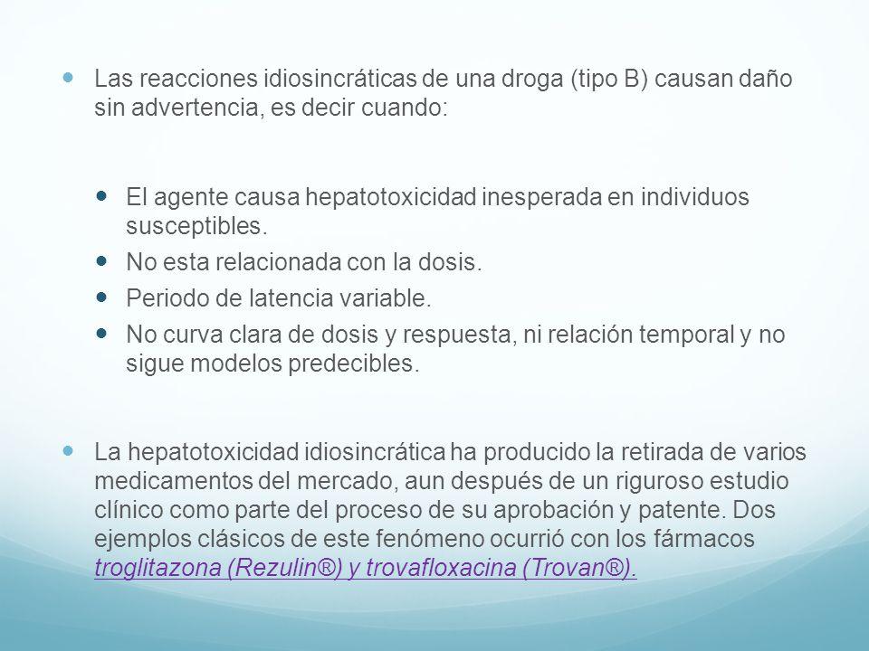 Las reacciones idiosincráticas de una droga (tipo B) causan daño sin advertencia, es decir cuando: El agente causa hepatotoxicidad inesperada en indiv