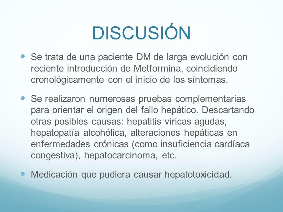 DISCUSIÓN Se trata de una paciente DM de larga evolución con reciente introducción de Metformina, coincidiendo cronológicamente con el inicio de los s