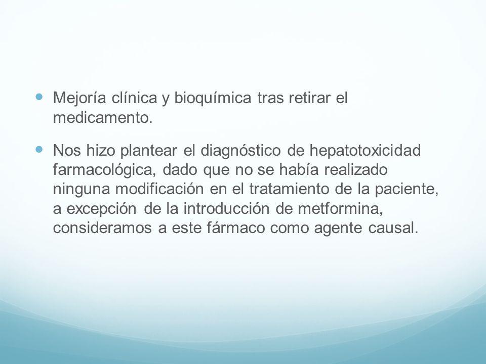 Mejoría clínica y bioquímica tras retirar el medicamento. Nos hizo plantear el diagnóstico de hepatotoxicidad farmacológica, dado que no se había real