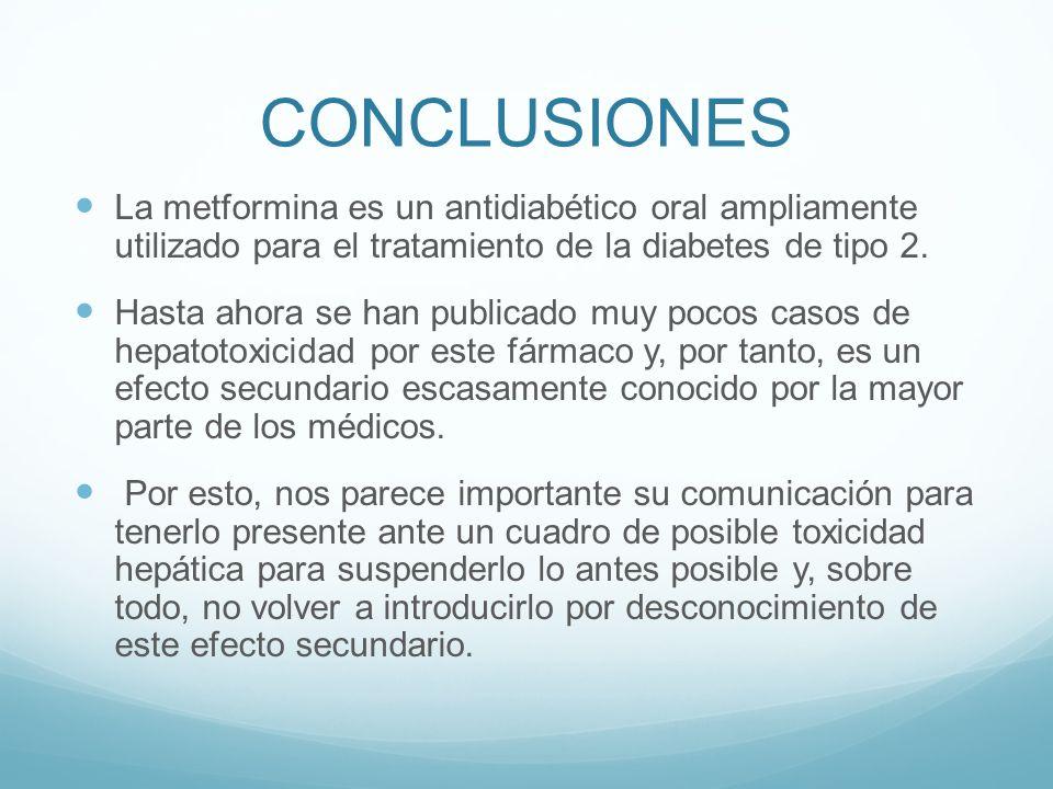 CONCLUSIONES La metformina es un antidiabético oral ampliamente utilizado para el tratamiento de la diabetes de tipo 2. Hasta ahora se han publicado m