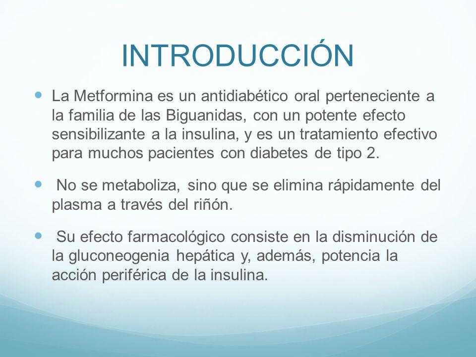 INTRODUCCIÓN La Metformina es un antidiabético oral perteneciente a la familia de las Biguanidas, con un potente efecto sensibilizante a la insulina,