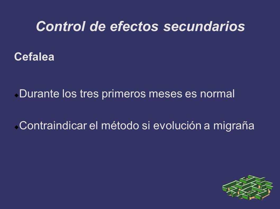Control de efectos secundarios Cefalea Durante los tres primeros meses es normal Contraindicar el método si evolución a migraña