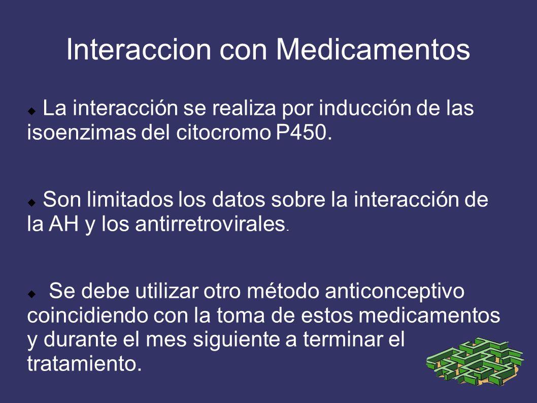 Interaccion con Medicamentos La interacción se realiza por inducción de las isoenzimas del citocromo P450. Son limitados los datos sobre la interacció
